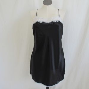 Victoria's Secret Black Satin Chemise Women's XL